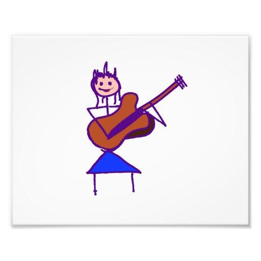 female guitar stick figure brown gtr purple photographic print