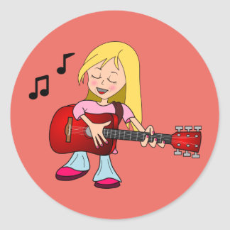 Female Guitarist Classic Round Sticker