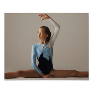 Female gymnast (12-13) performing splits poster