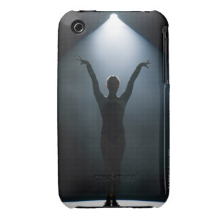 Female gymnast performing in spotlight, studio iPhone 3 cases
