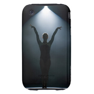 Female gymnast performing in spotlight, studio iPhone 3 tough cover