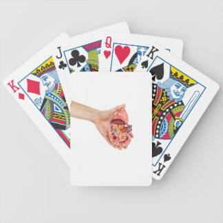 Female hand holds model of human kidney bicycle playing cards