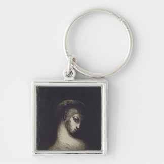Female Head Silver-Colored Square Keychain