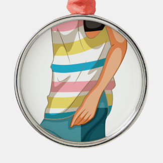 Female hipster round metal christmas ornament
