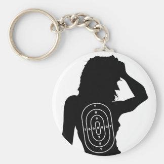 Female Human Shape Target Basic Round Button Keychain