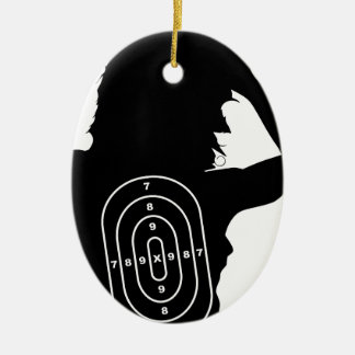 Female Human Shape Target Ceramic Oval Ornament