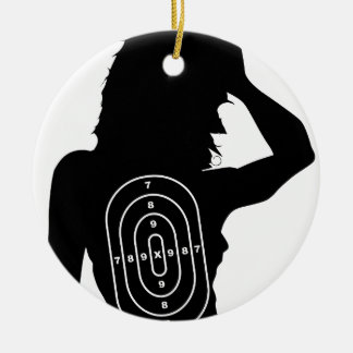 Female Human Shape Target Round Ceramic Ornament