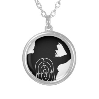 Female Human Shape Target Silver Plated Necklace