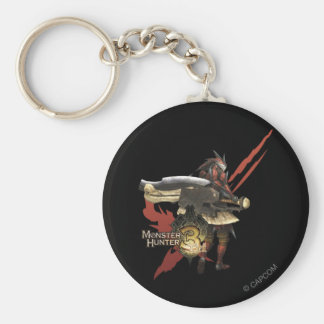 Female Hunter with Switch Axe, Rathalos Armor Basic Round Button Keychain