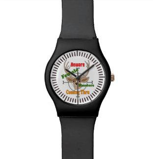 Female hunters, hunting deer design wrist watch