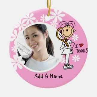 Female I Love Tennis Personalized Ornament