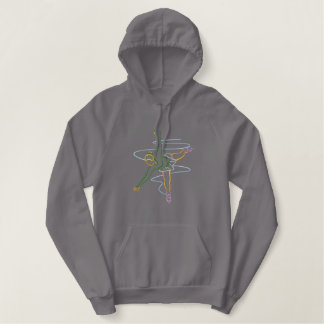 Female Ice Skater Outline Embroidered Hoodie