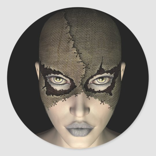 female in stitched mask sticker