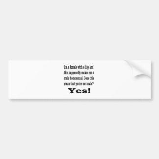 Female Lisp Bumper Sticker