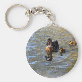 Female mallard duck and ducklings keychain