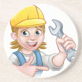 Female Mechanic or Plumber Cartoon Character Beverage Coaster