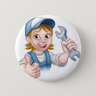Female Mechanic or Plumber with Spanner 2 Inch Round Button