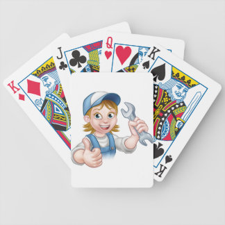Female Mechanic or Plumber with Spanner Bicycle Playing Cards