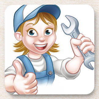 Female Mechanic or Plumber with Spanner Coaster