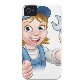 Female Mechanic or Plumber with Spanner iPhone 4 Case-Mate Case