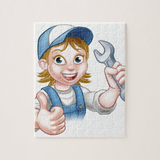 Female Mechanic or Plumber with Spanner Jigsaw Puzzle