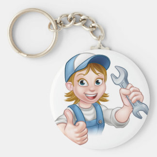 Female Mechanic or Plumber with Spanner Keychain