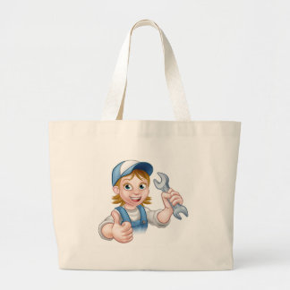 Female Mechanic or Plumber with Spanner Large Tote Bag