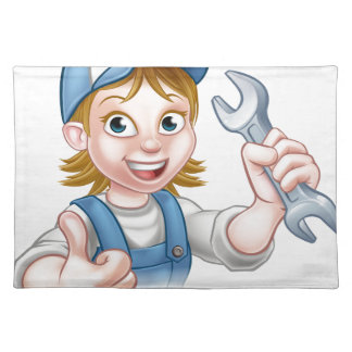 Female Mechanic or Plumber with Spanner Placemat