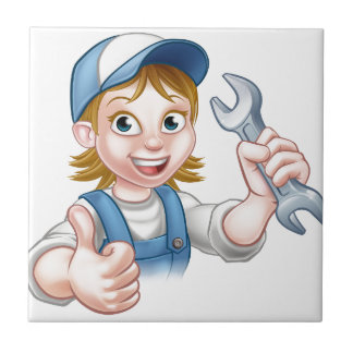 Female Mechanic or Plumber with Spanner Tile