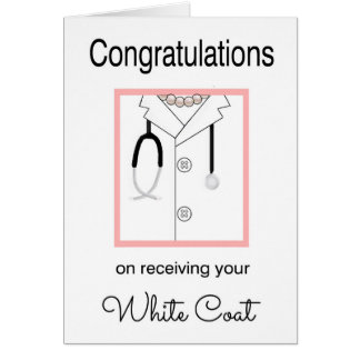 Female Medical White Coat Congratulations Card