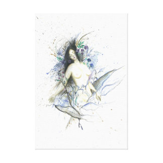 Female nude portrait abstract background canvas print