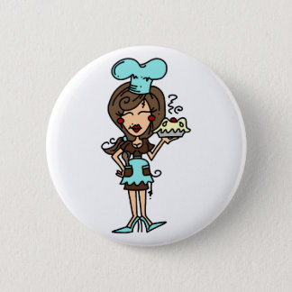 Female Pastry Chef - Brunette T-shirts and Gifts 2 Inch Round Button