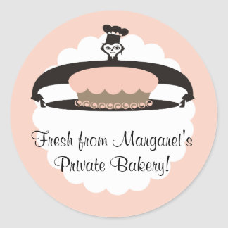 Female pastry chef frosted cake gift tag stickers