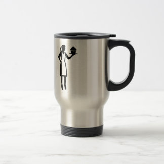 Female pastry chef travel mug