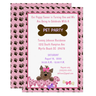 Female Pet Birthday Party Invitation