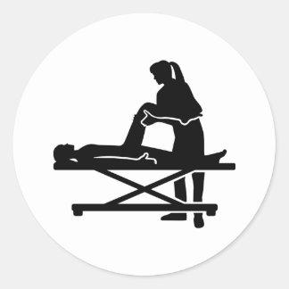 Female physiotherapist round sticker
