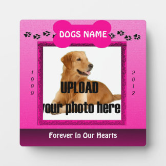 Female Pink Dog Memorial Display Plaque