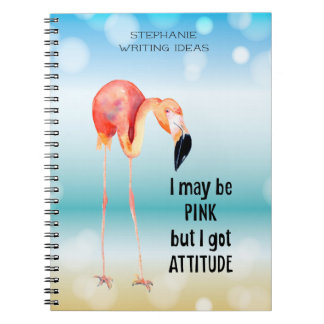 Female Pink Flamingo with Attitude Personalized Notebooks