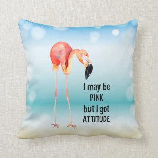 Female Pink Flamingo with Attitude Throw Pillow