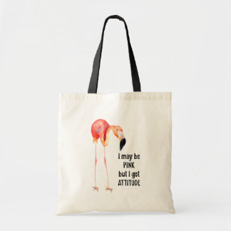 Female Pink Flamingo with Attitude Tote Bag