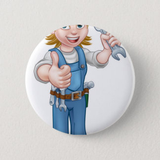 Female Plumber Cartoon Character with Spanner 2 Inch Round Button