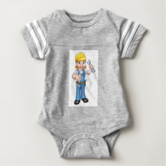 Female Plumber Cartoon Character with Spanner Baby Bodysuit