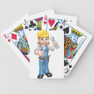 Female Plumber Cartoon Character with Spanner Bicycle Playing Cards