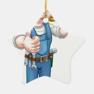 Female Plumber Cartoon Character with Spanner Ceramic Ornament