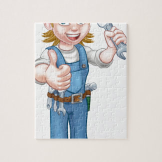 Female Plumber Cartoon Character with Spanner Jigsaw Puzzle