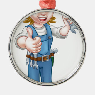 Female Plumber Cartoon Character with Spanner Metal Ornament