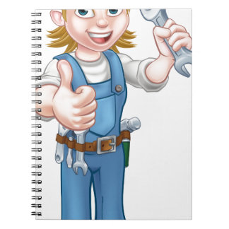Female Plumber Cartoon Character with Spanner Notebooks
