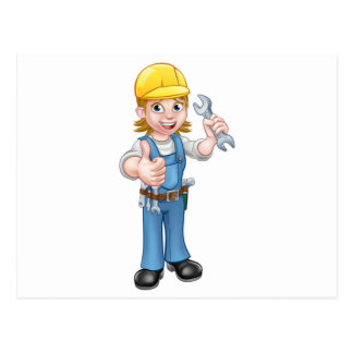 Female Plumber Cartoon Character with Spanner Postcard