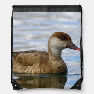 Female pochard duck, netta rufina drawstring bag