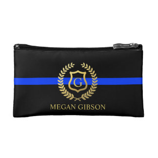 Female Police Custom Monogram Thin Blue Line Makeup Bags